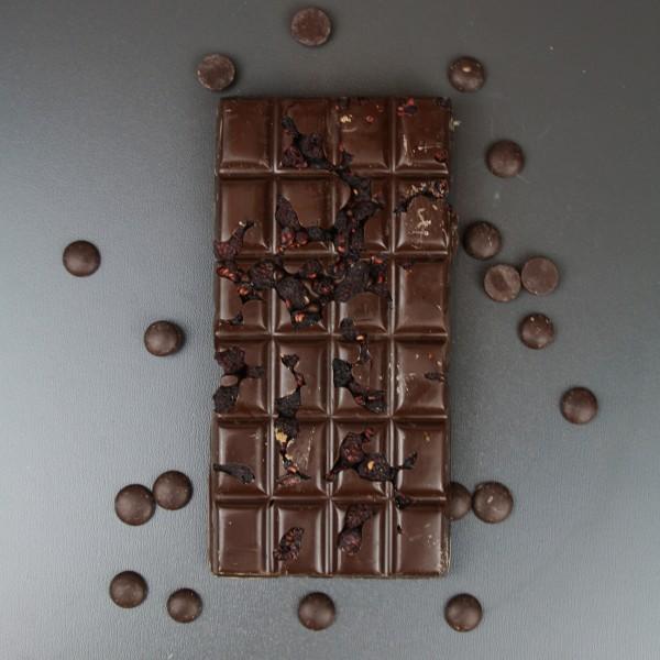 Zartbitterschokolade mit Brombeeren in Sherry