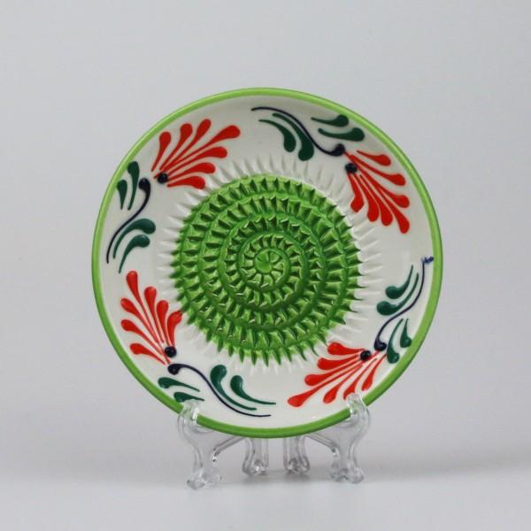 Keramik Reibe in Orange, grün & weiß