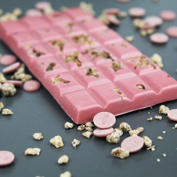 Ruby Schokolade mit Orangen Walnuss Weinbrand Krokant