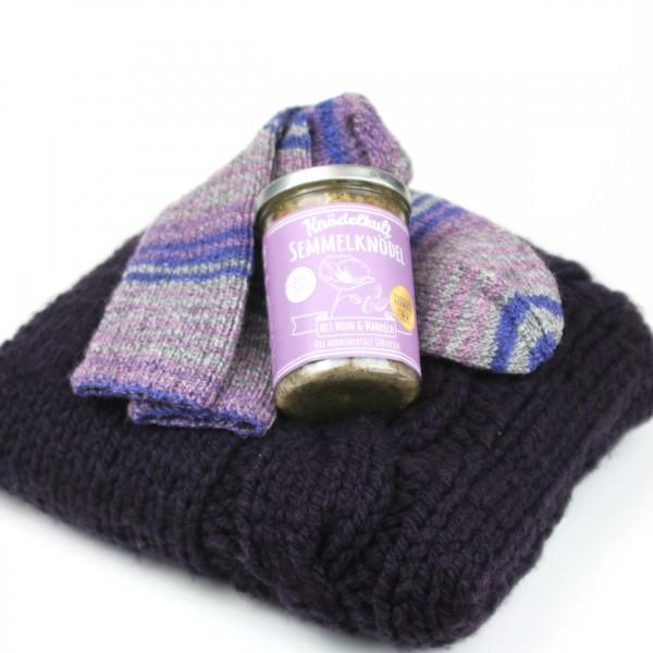Kuschelset lila - Kissen & Socken & Mohn Amour