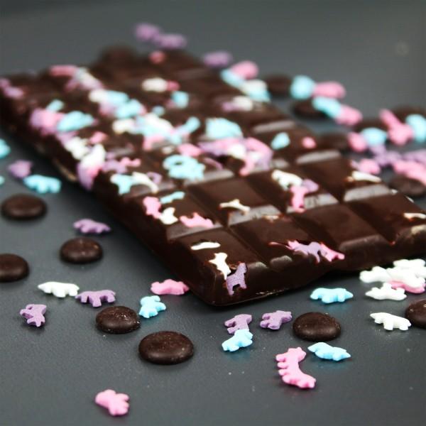 Zartbitter Schokolade mit zuckersüßen Einhörnern