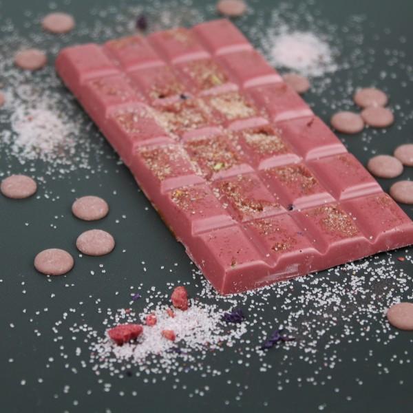 Ruby Schokolade mit Himbeerzucker & Silberglimmer